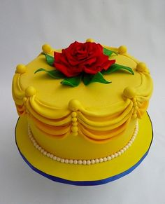 Beauty and the Beast cake by angela - I like the idea of making the cake look like material from the dress...accent from movie on top.