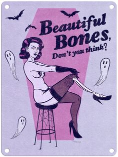 "Jenny Richardson - Beautiful Bones - 9"" x 12"" Metal Print Halloween Art, Vintage Halloween, Pinup, Arte Punk, Psy Art, Arte Obscura, Vintage Horror, Pin Up Art, Horror Art"