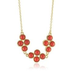 "Lisa Stewart ""Palm Beach"" Coral & Navy 3-Cluster Necklace"