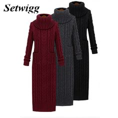 Korean Style Twist Knit Long Sweater Dress 2016 Winter Turtleneck Twist  Weaving Knitted Back Split Bodycon Long Sweater Dress. Anna Welch · Women s  Sweaters 8212b2a76