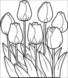 Tulips color page. Nature & Food coloring pages. Coloring pages for kids. Thousands of free printable coloring pages for kids! Spring Coloring Pages, Flower Coloring Pages, Coloring Book Pages, Coloring Pages For Kids, Summer Coloring Sheets, Garden Coloring Pages, Stained Glass Patterns, Mosaic Patterns, Embroidery Patterns