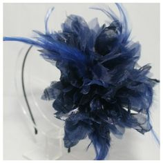 Navy Feather Headband Feather Silk Satin Headband Party Fascinator Hair Accessories Bridal Headband Bridal Hair accessories by Annielov headband -1740 -- Want additional info? Click on the image.