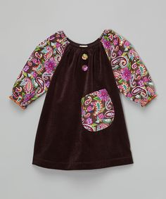 Look at this Lele Vintage Brown Paisley Velvet Pocket Peasant Dress - Toddler & Girls on #zulily today!