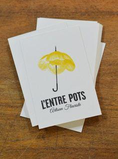 Carte de visite juin 2015 www.lentrepots-artisanfleuriste.com Pots, Visual Identity, Brand Identity, Branding, Mood Boards, Business Cards, Creations, Graphic Design, Letterpress