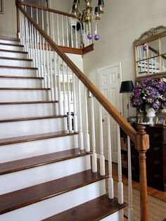 step-by-step tutorial on how to transform a standard builders carpeted staircase into a stained & painted beauty ~ easy, but takes some time. I'm up for the job!!  Great post from the blog ~ In My Own Style!