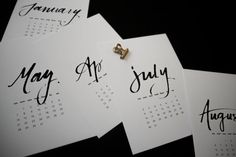 Simple and elegant 2017 modern calligraphy petite wall calendar.
