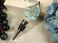 Murano Design Blue Silver Swirls Bottle Stopper Favors