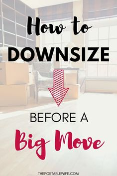 These downsizing tips will help you declutter before moving and save money on moving costs. Moving House Tips, Moving Costs, Moving Home, Moving Day, Moving Tips, Moving Hacks, Moving Across Country Tips, Purge Before Moving, Downsizing Tips