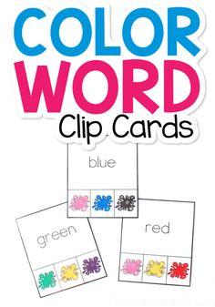 Is your preschooler or kindergartner working on learning color words? Practice those and fine motor skills at the same time with these printable color word clip cards! #FromABCsToACTs