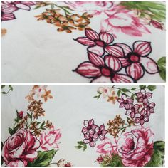 Double Brushed Polyester Spandex: Sketched Floral on Cream