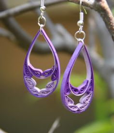 Double purple ombre quilled drops