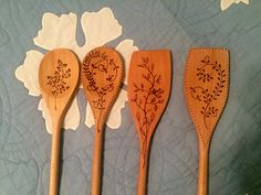 wooden spoons and spatulas pyrography