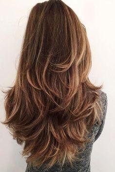 Long V Cut Layered Hairstyles