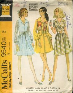 McCall's 9540; ©1968; Misses' and Junior Dress in Three Versions and Vest. Dress, with concealed front opening, has long or short set-in sleeves, and sleeveless lined vest. Gathered four section skirt, with front pleat, is seamed at waistline to gathered bodice. Faced collar is included in neck facing seam, faced fronts are turned back to form revers, and dress front opening is snapped closed.