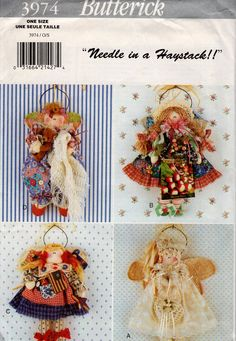 Butterick 3974 Retro 1990s 90's Sewing Pattern Free Us Ship Uncut Needle in a Haystack Dolls Wall Hangings Angel for all Occasions by LanetzLiving on Etsy