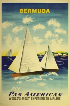Bermuda, 1950s - original vintage Pan Am travel advertising poster by Edward McKnight Kauffer listed on AntikBar.co.uk