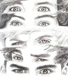 One Direction Eyes One Direction Fan Art, One Direction Drawings, One Direction Wallpaper, One Direction Pictures, One Direction Memes, Cartoon Girl Drawing, Cartoon Drawings, Easy Drawings, Eye Sketch