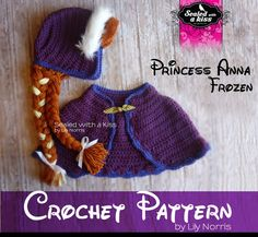 CROCHET PATTERN Princess Anna Frozen, Anna frozen hat crochet, Frozen Anna inspired Custome, Anna Forzen Set. (Instant Download)