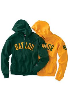 Green and Gold Full-Zip Hooded Sweatshirts -- $58 at #Baylor Bookstore. Perfect for #BUHC13!