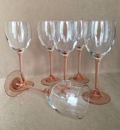 Pink Stem Wine Glass Peachy Pink Barware Vintage by DotnBettys