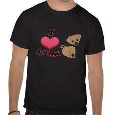 I love my puggle pug and beagle mixed breed dog t shirts