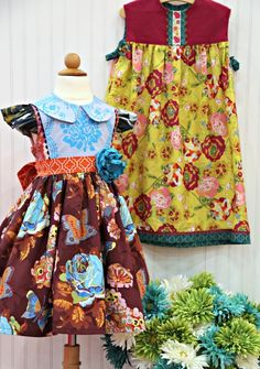 Georgia Vintage Dress Pattern from The Cottage Mama. Dress behind it is the Play Frock from the book, 'Sew Classic Clothes for Girls' also from The Cottage Mama (Lindsay Wilkes).