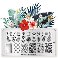 Paradise 02 | MoYou London Modern Tropical, Tropical Design, Tropical Vibes, Stamping Nail Polish, Nail Stamping Plates, Nail Stamper, Image Plate, Tribal Patterns, Beautiful Nail Art