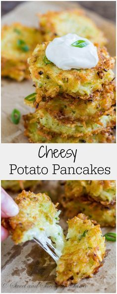 used gluten-free flour -- Delicately crispy crust + pillowy soft inside + ooey gooey cheese filling = DELICIOUS cheesy potato pancakes! Vegetable Recipes, Vegetarian Recipes, Cooking Recipes, Healthy Recipes, Bariatric Recipes, Skillet Recipes, Sausage Recipes, Mexican Recipes, Pizza Recipes