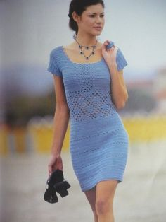 Crochet dress, cocktail dress, sexy dress, party dress, PATTERN, beach dress, tightly fitted dress, detailed description in English.