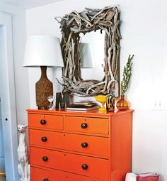 Love the use of natural woods in this collection, the mirror, the cork lamp, beautiful!