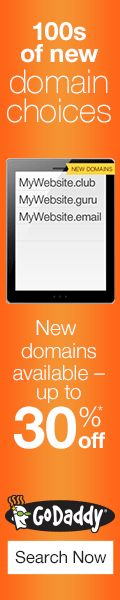 New Domains now available from GoDaddy! Get your .GURU, .UNO, .LUXURY and more! - 120 x 600