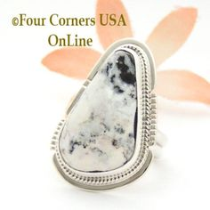 Four Corners USA Online - Size 7 White Buffalo Turquoise Sterling Silver Ring Navajo Artisan Larson L Lee NAR-1825, $149.00 (http://stores.fourcornersusaonline.com/size-7-white-buffalo-turquoise-sterling-silver-ring-navajo-artisan-larson-l-lee-nar-1825/)