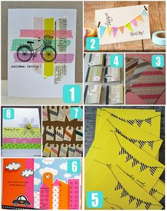 100 Ways to Washi - The Ultimate Washi Tape Projects Guide! If you love washi tape, this collection of washi tape ideas are for YOU! Diy Washi Tape Cards, Washi Tape Uses, Washi Tape Crafts, Masking Tape, Diy Cards, Paper Crafts, Washi Tapes, Mt Tape, Tapas