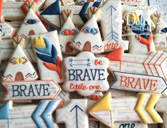 Boho Arrow Teepee Feather Birthday First Birthday Be Brave Little One Cookies by DolceCustomCookies on Etsy (null)