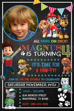 Invitations Paw Patrol Invitation Paw Patrol by fiestaprintable