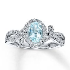 Kay - Aquamarine Ring Oval-Cut with Diamonds Sterling Silver