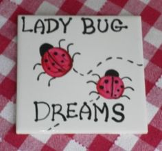 Hand Painted Farmhouse Country LADY BUG  by LisasShabbyCottage (Home & Living, Kitchen & Dining, Cookware, Trivets & Pot Holders, lady bug, lady bug trivet, lady bug gifts, birthday gift, farmhouse decor, ladybugs, custom trivet, country farmhouse, lady bug home decor, kitchen decor, kitchen gifts, hand painted trivet, country lady bug)