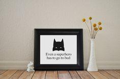 8x10 Superhero Bedtime Art Print Even A Superhero by pipersprints
