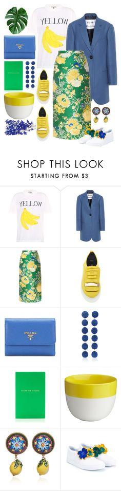 """Blue + Yellow"" by cherieaustin ❤ liked on Polyvore featuring Ganni, Acne Studios, Rochas, Sergio Rossi, Prada, Rebecca de Ravenel, CB2, Dolce&Gabbana and Lanvin"