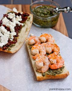 Greek Shrimp Panini with Pesto, Feta, and Sun-Dried Tomatoes ...get the #recipe at www.paninihappy.com