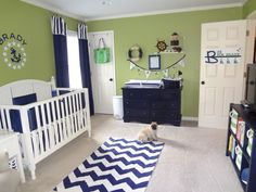navy nursery | Green and navy nautical themed nursery Curtain idea