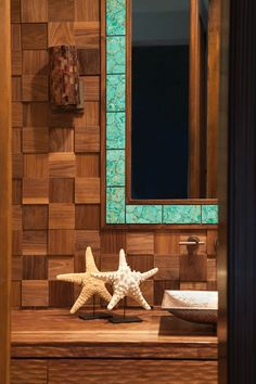 "ANN SACKS Bosque 4"" x 4"" low, medium and high wood fields in brazilian cherry jatoba (designer: M2 Interior Design, photographer: Karyn Millet Photography)"
