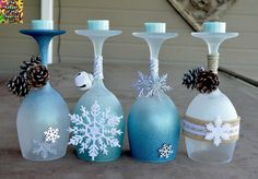 WInter Wonderland Wine Glass Candle Holders  HOW TO MAKE THEM:  http://www.thekeeperofthecheerios.com/2015/09/winter-wonderland-wine-glasses-candle.html?m=1