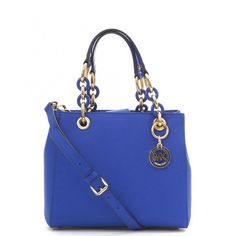 Michael Kors Cynthia Small North South Satchel (€350) ❤ liked on Polyvore featuring bags, handbags, electric blue, leather satchel handbags, leather satchel purse, leather handbags, studded purse and leather satchel