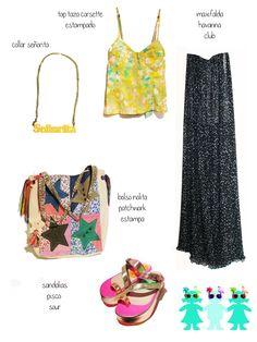 collar señorita + top floral + maxifalda plisada lunares + bolso patchwork + sandalias pisco.
