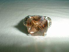 david yurman style champagne briolet cut crystal ring sz.8 two tone gp - Quality Vintage Jewelry