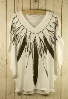 Feather Print Pea Oversize T-shirt