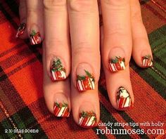 Candy Cane and Holly Berries with a Snowman and Christmas Tree Nail Art by Robin Moses. Tutorial: www.youtube.com/watch?v=f8SSzKD83Ro