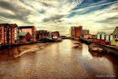 View along the River Hull in Kingston Upon Hull, East Yorkshire, England