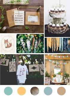 Yesterday we hosted a sweet camping meets woodland animal themed baby  shower for one of our besties and her little baby boy-to-be. This is the  mood board we started with. We kept the palette to tealy blues and greens  with hits of yellow. Lots of wood and kraft paper kept it very earthy.  Check out my instagram for some snippets from the party and check back  here later in the week for more.   photos: Invitations / cupcakes / bandana / cake / onesie line / fox  illustration / arrows